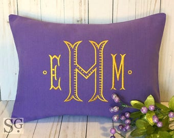 DORM DECOR Monogram Pillow Cover. 12x16 Decorative Throw Pillow. School Colors Pillow. Dorm Room Bedding. Roommate Gift. College Pillow.