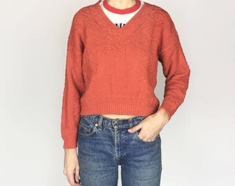 1980s Coral Cropped V Neck Cotton Sweater (S/M/L)