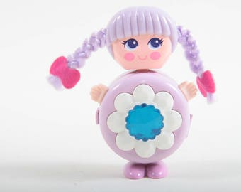 Sweet Secrets Charms, Flashie Purple, Girl, Blue Round Stone, White Flower, Vintage, Toy, Galoob, Jewellery, Plastic ~ The Pink Room ~ SS004