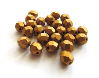 Round Faceted Matte Metallic Antique Gold Czech Glass Beads, 6mm - 25 pieces