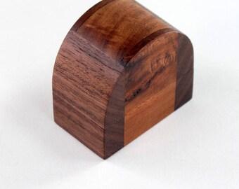 Walnut and Acacia Domed Ring Box