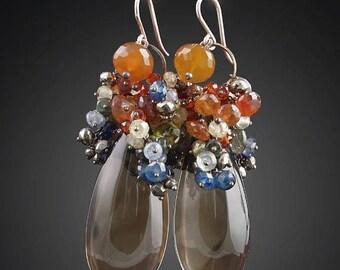 20% OFF - Stained Glass Earrings with Smoky Quartz, Spessartite Garnet, Sapphires, Grossular Garnet, Tanzanite, and Pyrite