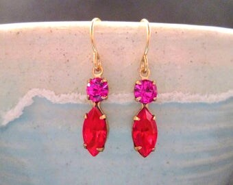 Rhinestone Earrings, Violet Purple and Red Glass Stones, Gold Dangle Earrings, FREE Shipping U.S.