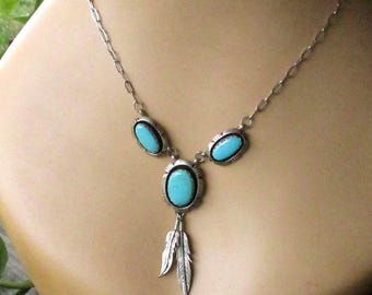 Sterling Silver Turquoise Necklace, Vintage Leonard & Marian Nez Navajo Handcrafted Native American Jewelry