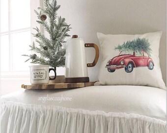 red beetle car with christmas tree decorative pillow cover, car with christmas tree, christmas decor, seasonal decor