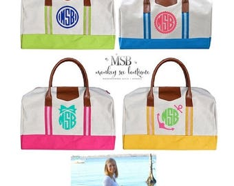 ON SALE Weekender duffle overnight bag - monogrammed - travel bag - bridesmaid gift - pink, blue, lime, yellow personalized duffle travel ba