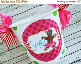 ON SALE Christmas Gift Pail - Gingerbread Girl Christmas Gift Bucket - Christmas Gift - Card Holder - Gift Bucket - Gift Packaging