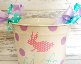 ON SALE custom 10 QUART bucket with patterned bunny, name and polka dots