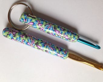 Set of Two Polymer Clay Crochet Hooks, Bates H and J.