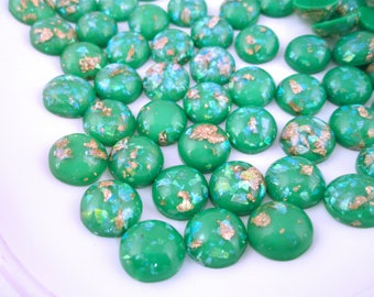 10 12mm Green Resin Foil Cabochons, color cabs G226