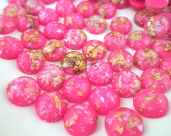 10 12mm Hot Pink Resin Foil Cabochons, color cabs G231