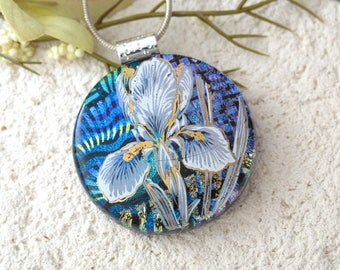 Blue Iris Necklace, Fused Glass Jewelry, Dichroic Jewelry, Floral Jewelry, Dichroic Pendant, OOAK Handmade Necklace, ccvalenzo, 083117p103