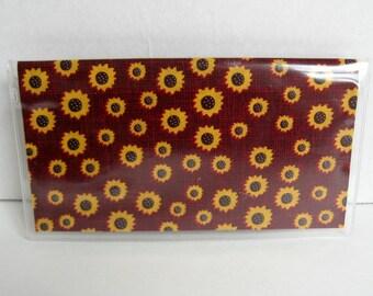 Sunflower Checkbook Cover - Fall Cash Holder - Works with Duplicate Checks - Flower Checkbook Holder