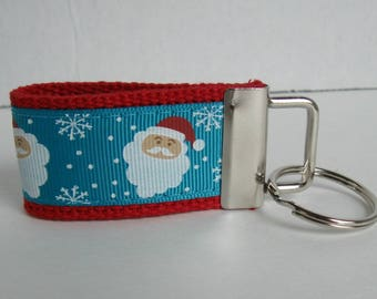 Santa Mini Key Fob - Small Key Chain - Santa Claus Zipper Pull - Christmas Key Ring - Handmade Key Fob - Christmas Party Favor