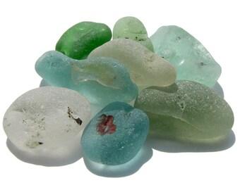 Seafoam Green, Aqua & White Sea Glass Nuggets - For Crafts, Art, Mosaics, Jewelry, Supplies