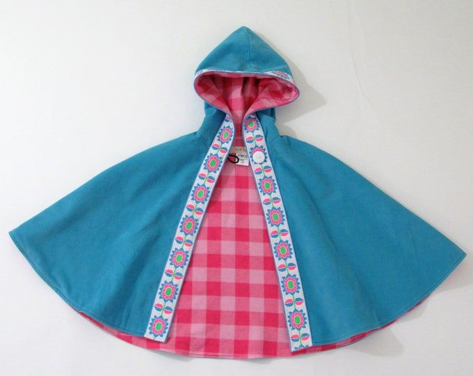 Girls Cape, Toddler Cape, Girls Coat, Toddler Coat, Bright Blue Corduroy Cape with Floral Ribbon & Pink Check Lining, Girls Capelet, Size 4T
