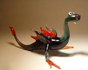 Handmade Blown Glass Figurine  Art Grey and Red DRAGON