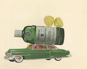 Preferred summer beverage of the tanager.   Limited edition print of an original collage by Vivienne Strauss.