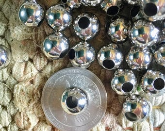 Bulk Wholesale Supplies 10mm Nickel Free Shiny Silver Round Beads with 4mm Hole 50 Pieces