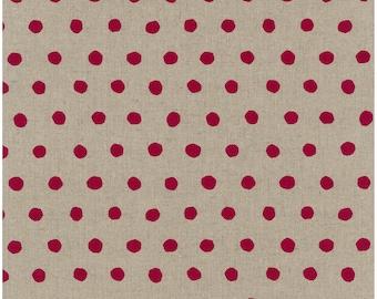 Japanese Fabric Kokka Echino - dot - red, natural - fat quarter