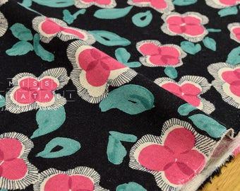 Japanese Fabric watercolor flowers - black, pink, teal - 50cm