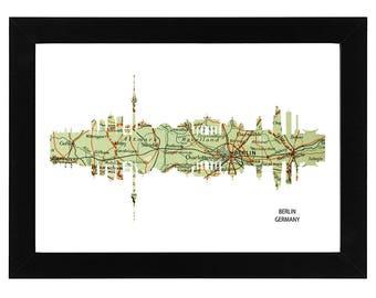 Berlin City Germany Skyline Print with vintage map
