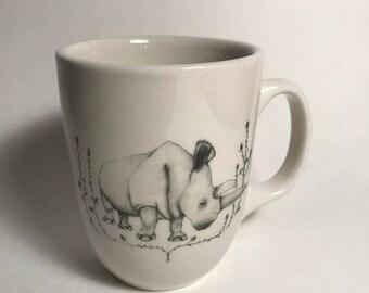 rhino coffee mug rustic farmhouse style mug