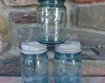 Vintage Lot of 3 Blue Aqua Ball Perfect Mason Pint Canning Jars w/Zinc Lids #L5