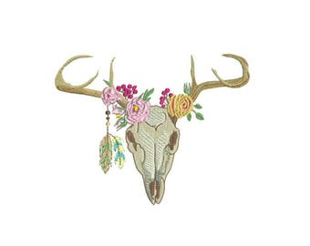 Machine Embroidery Bohemian Deer Skull With Feathers Machine Embroidery File design 6x10 inch hoop