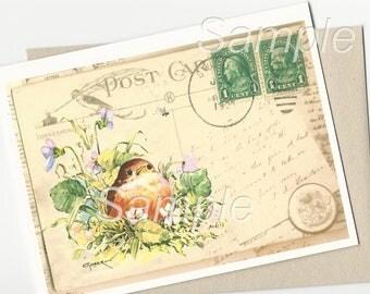 Baby Robin Bird Violets Vintage postage postcard Collage Note Card and Envelope