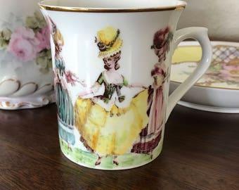 Marie Antoinette Ladies in Waiting Hand Painted Porcelain Coffee Tea Cup Mug Kiln Fired