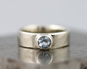 Solid 14k White Gold Hammered Ring with Light Blue Aquamarine - Wide Textured Alternative Engagement, Everyday Ring for Her - Made to Order