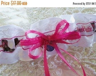 On Sale Hot Pink / White Satin & Lace Redneck Cutie Garter-Country-Cowgirl-Western-Rustic-1 Fits 18-22 inches
