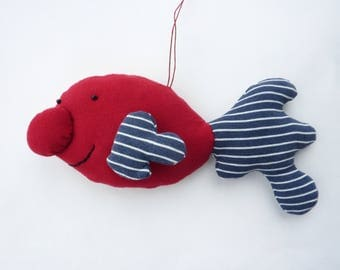 Happy Blobfish - William - hand sewn hanging decoration - collectors' doll - collectors' plushie / plushy