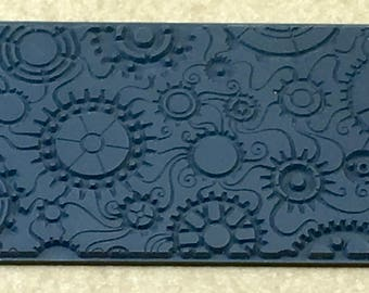 STEAMPUNK SWIRL Gears Embossed Clay Texture Imprint, Rubber Stamp Mat Inks Paint  TTL401