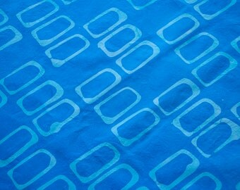 Forma:Rectangles Hand Dyed and Patterned Cotton Fabric in Pale Blue and Turquoise