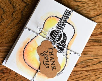 Handmade, Acoustic Guitar, Blank Card, Guitar Card, Dreadnought Guitar, Dreadnought Card, Acoustic Card, Watercolor Guitar, Guitar Print