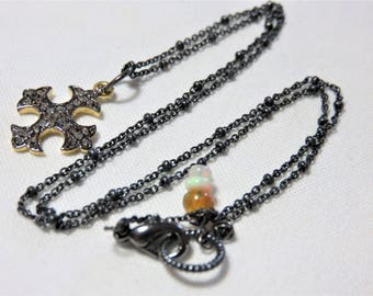 "Oxidized Sterling Silver Diamonds over Vermeil Gold ""Cross"" Pendant, Oxidized Sterling Silver and Natural Opal Necklace"