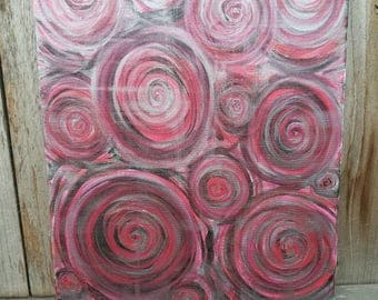 "Swirls Abstract - 16"" x 20"" Acrylic Painting - FREE SHIPPING"