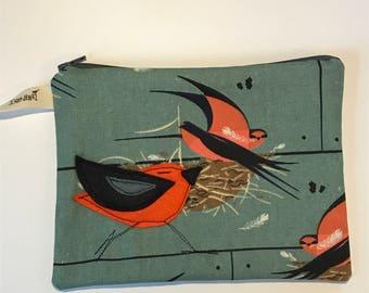Barn Swallow  Felt Appliqué large zipper pouch, organic cotton canvas, lined, gift idea, Charley Harper fabrics