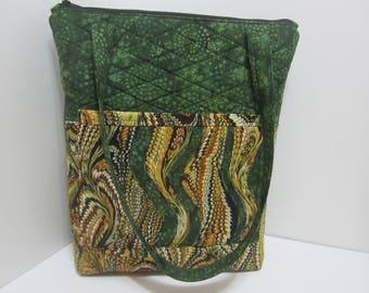 Swirled Batik and Green Roomy Tote Bag 900