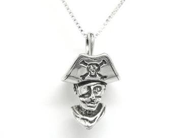 SALE Pirate Head Sterling Silver Pendant Charm Customize no. 1886