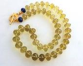 Lustrous Lemon Oro Verde Quartz Polished Nugget Byzantine Necklace with Blue Sapphires...