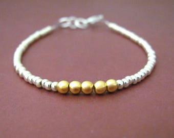 Tiny Bracelet Silver Gold Bracelet, Friendship Bracelet, Seed Bead Bracelet, Petite Glass Beads, Hawaiian Jewelry, Beaded Bracelet