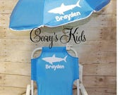 Toddler Childrens Beach Chair and Umbrella Monogrammed Personalized PINK BLUE PURPLE