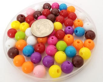 100 Mixed Acrylic Beads 8MM multi color lime pink purple (H2704)