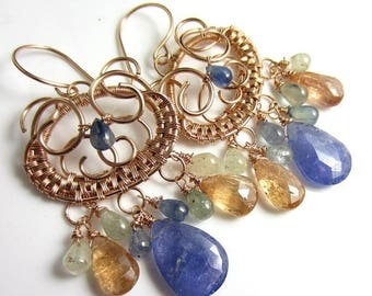 SUMMER SALE Gemstone Rain Earrings - Tanzanite, Sapphire and Imperial Topaz in 14k Rose Gold Filled Wrapped Chandeliers