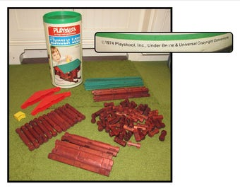 Vintage Lincoln Logs building toy by Playskool, Made in USA, 1974, log cabin, Scout set