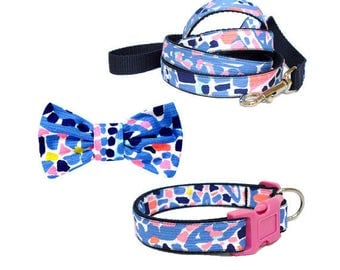 TIC TAC TILE Dog Collar and/or Leash on Navy with Bow or Flower Option Made from Lilly Pulitzer Fabric Size: Your Choice