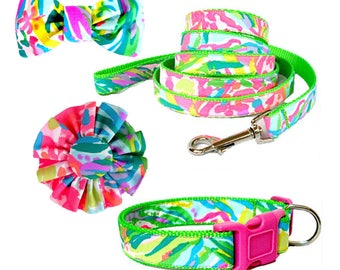 2017 FAN SEA PANTS Dog Collar and/or Leash on Green | Bow or Flower Option | Made from Lilly Pulitzer Fabric Size: Your Choice